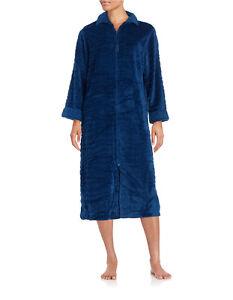 Miss-Elaine-Plush-Fleece-Zip-Front-Long-Robe-866545-Blue-Red-Green-Medium-Large
