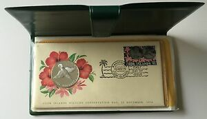 1976-Cook-Islands-First-Day-Cover-PNC-Silver-Proof-Coin-In-Folder