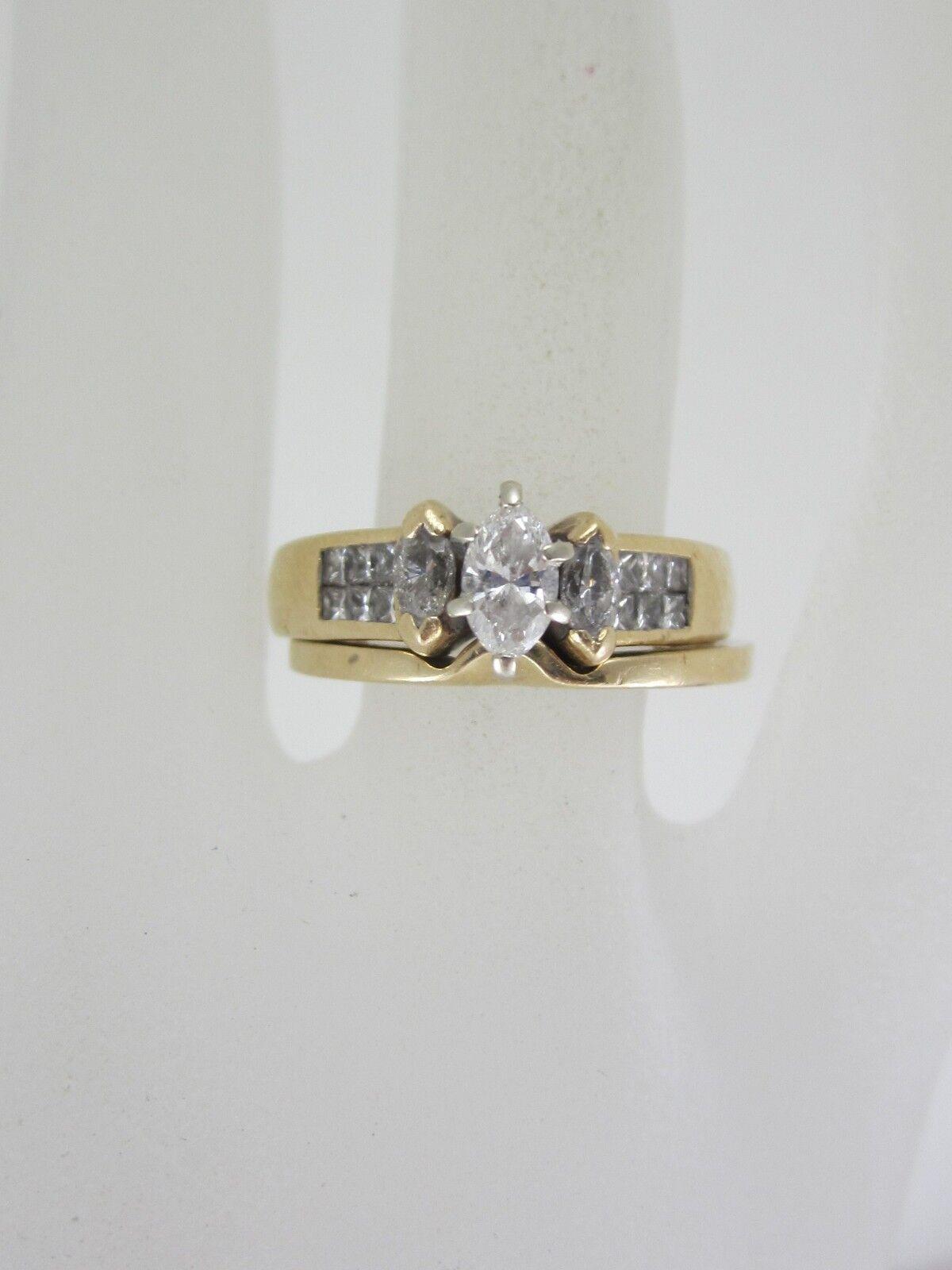 BEAUTIFUL LADIES 14K gold MARQUISE CUT DIAMOND WEDDING RING SET 7.4G