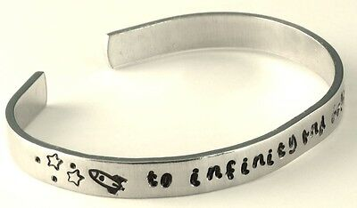 Personalized Bracelet - To Infinity and Beyond - Hand Stamped 1/4-inch Aluminum