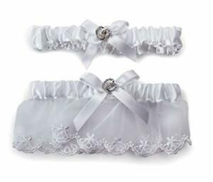 DAVID-039-S-BRIDAL-WHITE-GARTER-SET-2-peice-pack-One-to-Toss-amp-One-to-Keep