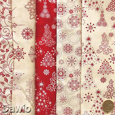 Patchwork Stoffpaket Stoff 5 Stoffe je 25x55cm rot//weiß Deko Weihnachten