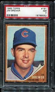 1962-Topps-Baseball-191-JIM-BREWER-Chicago-Cubs-PSA-7-NM