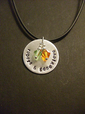 Couples Mom Personalized Hand Stamped Round Necklace Aluminum Crystal Birthstone