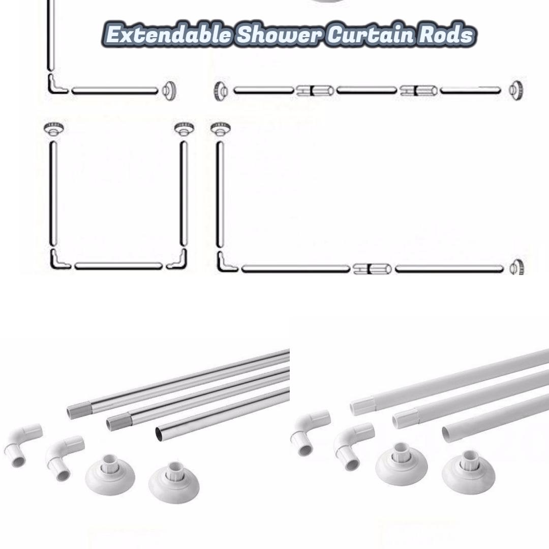 Corner Shower Curtain U L Shape 4 Way Rod Pole Bath Rail White Coated Chrome
