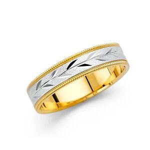 e0cfba64eb4 Solid 14k Yellow White Gold Wedding Ring Milgrain Band Leaf Diamond ...