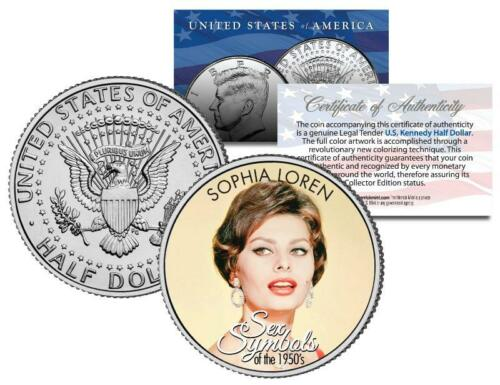 Colorized JFK Kennedy Half Dollar U.S 1950s Sex Symbol SOPHIA LOREN Coin