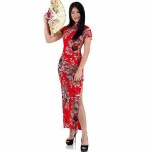 Details zu China Qipao Cheongsam Asia Kleid Kimono Geisha Cosplay  Abendkleid S M 10 10 10