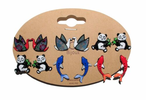 Carpe Koï Lol Bijoux Panda Cygne Boucles d/'Oreilles au Pays des Pandas