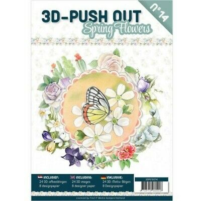 DECOUPAGE COLLECTION NEW 24 PAGES 3D PUSH OUT BOOK NO 15 HAPPY FLOWERS