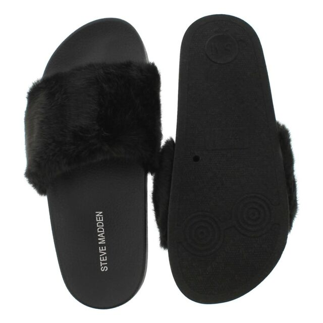0c45f70fe84 Steve Madden Womens Sandals Black Slides Softey Faux Fur Choose Your Size