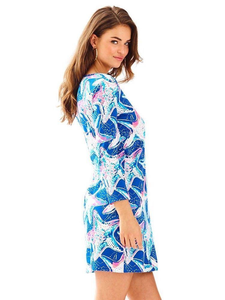 New Lilly Pulitzer Beacon Indigo Star Struck Tunic Jersey Dress XS