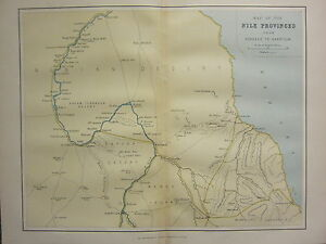 1895 ANTIQUE MAP ~ NILE PROVINCES KOROSKO TO KHARTOUM NUBIAN DESERT ...