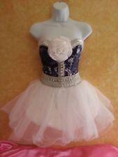 HOT DENIM DIAMONDS TIE DYE CORSET WHITE TULLE TUTU SKIRT DRESS PARTY PROM BRIDAL