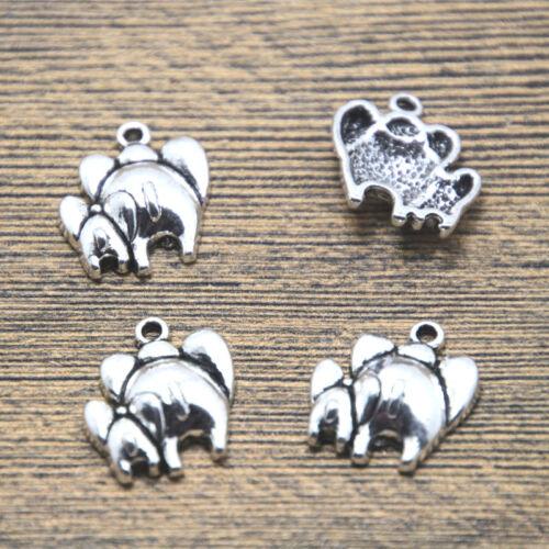 15 un madre y el bebé elefante encantos tono plata encanto Colgantes 17x16mm