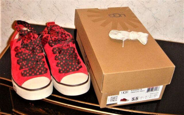 686ac717c4c UGG Evera 78 Anniversary Red Suede Lace-up SNEAKERS Womens Size 5.5 RARE
