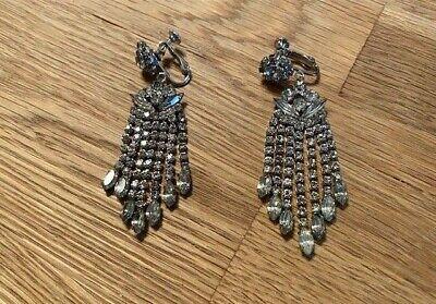 Vintage Dangle Drop Rhinestone Screwback Earrings for Non-Pierced Ears Estate Collectible Earrings