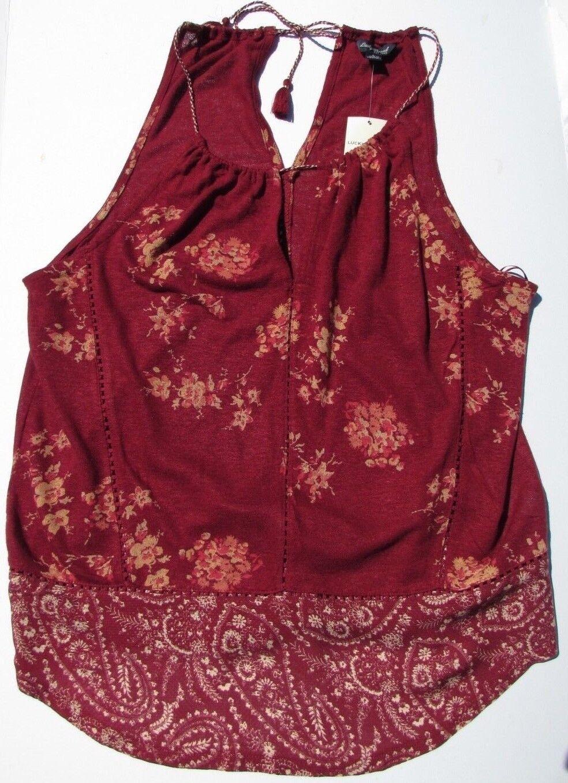 Lucky Brand tank top blouse Größe medium large rot tan braun Linen Spring Br New