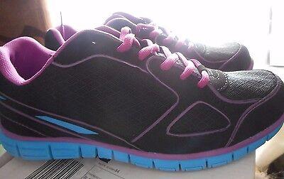 Nuevo Negro Azul Rosa Zapatillas Zapatos Para Caminar Gimnasio Entrenadores señoras de la banda de rodadura UK 6 39