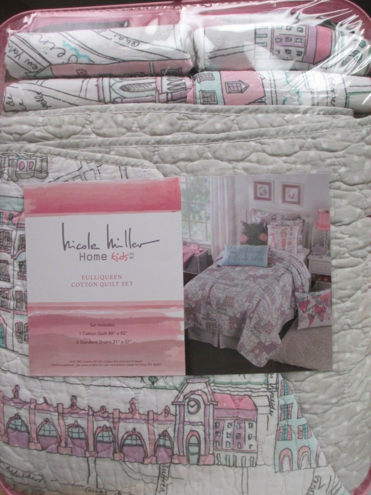 NICOLE MILLER Enfants 3pc Eiffel Tower French blanc rose Dots Quilt Set- Full Queen