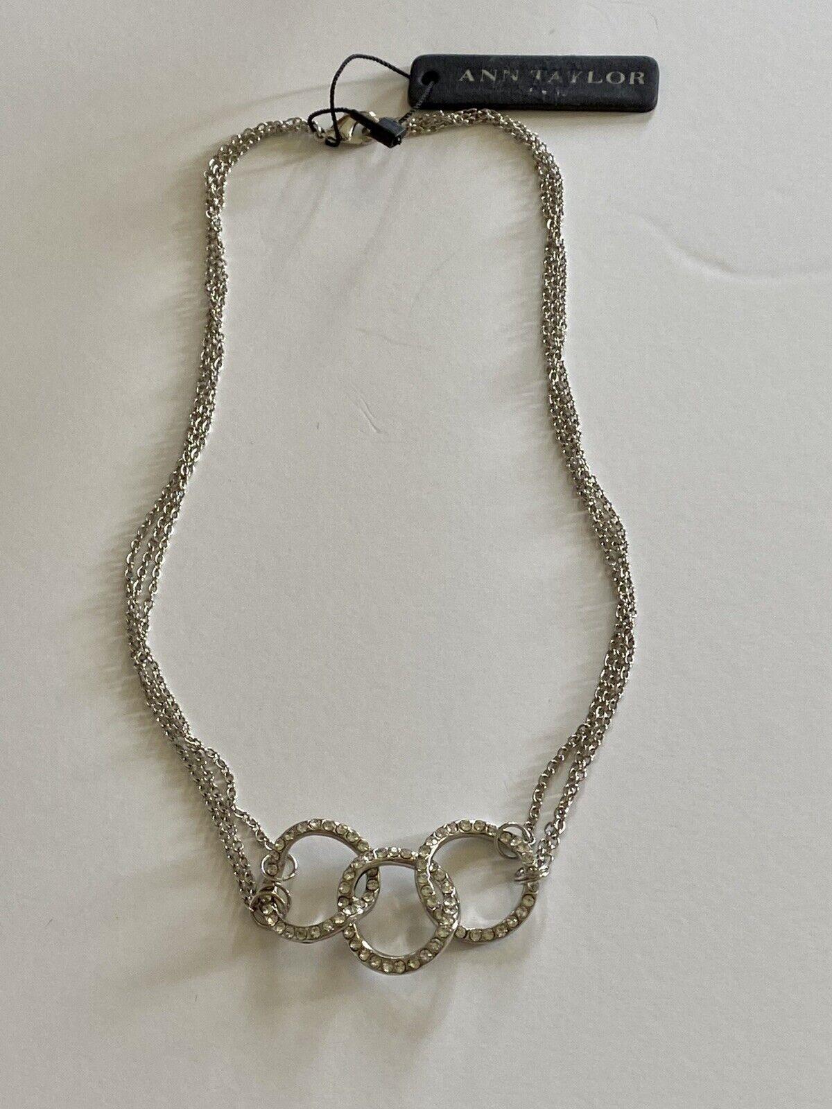 Ann Taylor Three Ring Crystal Silvertone Necklace