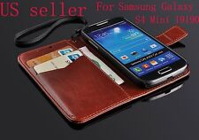 Luxury PU Leather Wallet Flip Cover Stand Case For Samsung Galaxy S4 Mini I9190