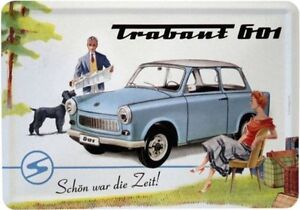 trabant 601 ddr auto car nostalgie blechschild 10x14 postkarte blechkarte pk47 ebay. Black Bedroom Furniture Sets. Home Design Ideas