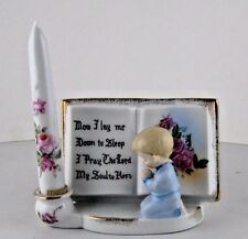 Figurine Now I Lay Me Down To Sleep Kneeling Boy Pink Rose Decor Fake Candle MIJ