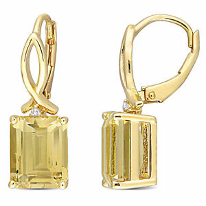 Amour Sterling Silver Citrine and White Topaz Drop Leverback Earrings