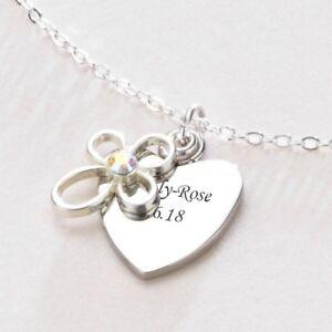fechas Grabado palabras Personalizado con Grabado Collar De Corazón nombres