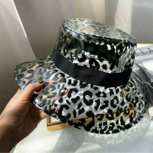 Fisherman Hat Transparent Leopart Print Casual Bucket Cap Stage Festival Party