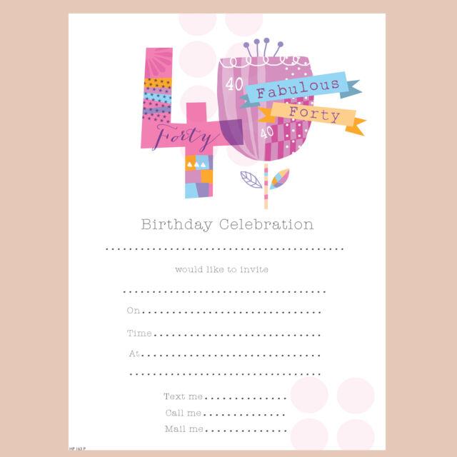 Simon Elvin Pink Female 40th Birthday Party Invitations Envelopes