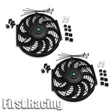 "2x 12"" Universal Slim Fan Push Pull Electric Radiator Cooling 12V Mount Kit BK"