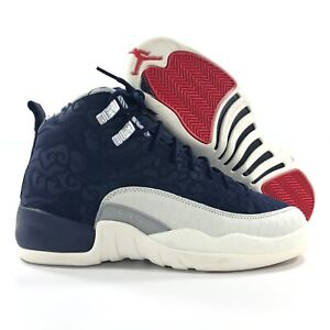 competitive price cf397 28713 Details about Nike Air Jordan 12 XII Retro PRM GS International Flight Navy  Blue White 5.5Y