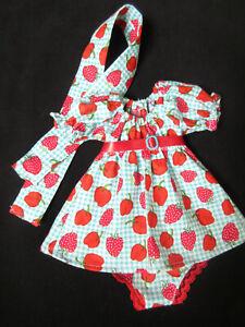 STRAWBERRY DRESS SET FOR VINTAGE IDEAL VELVET MIA DINA-CRISSY DOLLS