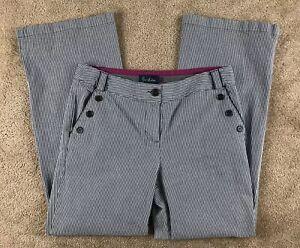 Boden-Womens-Jeans-Size-14R-Blue-Stripe-Wide-Leg-High-Rise-Nautical-Sailor-Pant