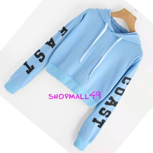 Girls Top Hoodie Waist Cropped Long Sleeve Hooded School Age 9-16 years