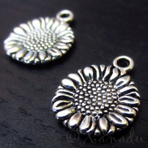 Sunflower Wholesale Floral Silver Plated Charm Pendants C3107-10 20 Or 50PCs