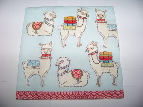 3 Servietten Happy Lamas light blue  Napkins