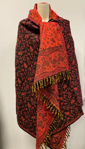 BLACK ORANGE WINTER SCARF YAK WOOL SHAWL BLANKET SPECIAL CHRISTMAS GIFT FOR HER