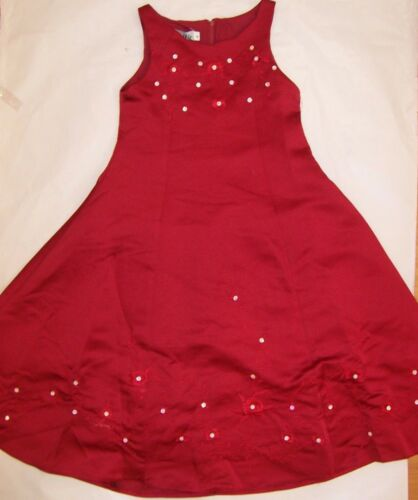 SIZE 4 TO 12 BNWT GIRLS RED PARTY WEDDING FLORAL DRESS