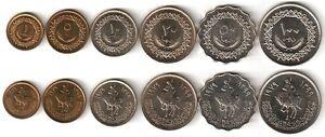 10 100 Dirhams 1979 Unc 1 5 50 20 Satz Aus 6 Münzen Libyen / Libya