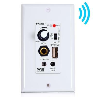 Wall Plate Audio Control Amplifier USB Port Pyle Bluetooth In-Wall Receiver