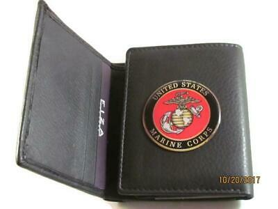 HIGH GRAIN QUALITY BLACK LEATHER TRIFOLD WALLET USMC US MARINE CORPS NEW