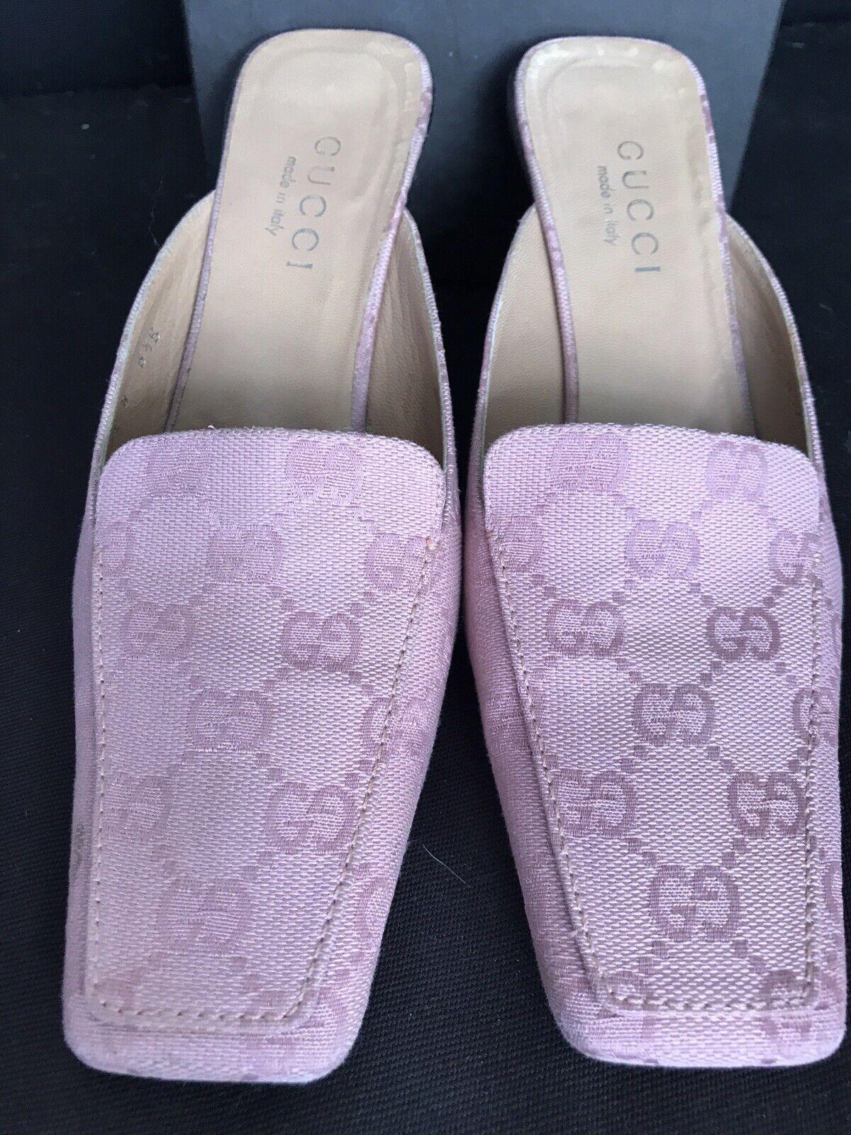Vintage GUCCI GG Canvas Mule Classic Shoes Rosa W… - image 2