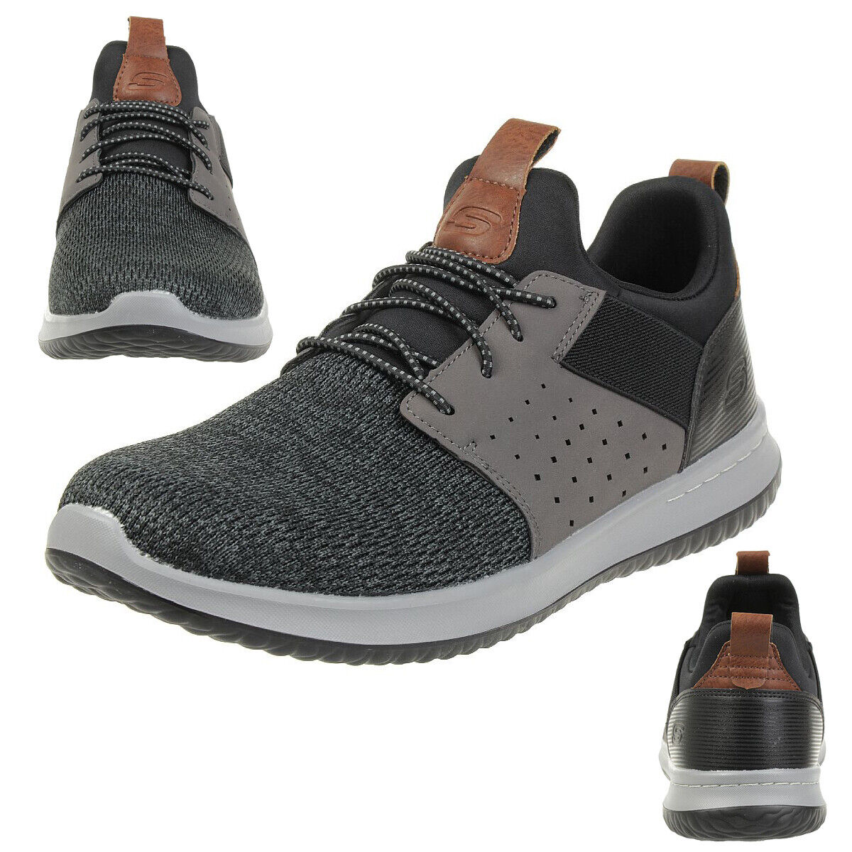 Skechers Classic Fit Delson camben Aircooled memory foam calcetines cortos bkgy