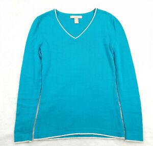 Banana-Republic-Women-039-s-Size-XS-Knit-Top-V-Neck-Bright-Blue-Long-Sleeve