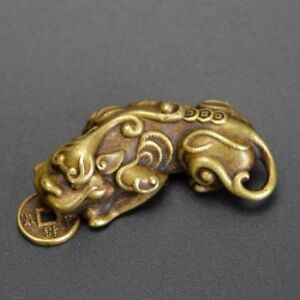 Chinese-Old-Collectibles-Pure-brass-God-beast-pixiu-small-pendant-NO-19