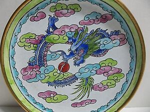 """Vintage Chinese Enameled Copper PIN TRAY Plate DRAGON 4.25"""""""