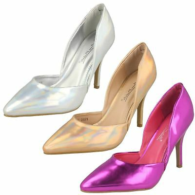 F9986-Ladies Anne Michelle High Heel Metallic//Hologram Court Shoes-3 Colours!